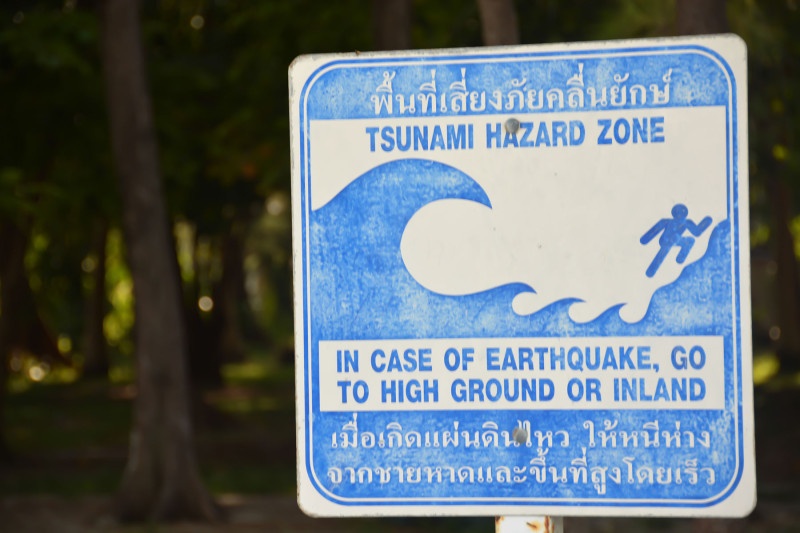 Tsunami hazard zone, Ko Poda, Thajsko