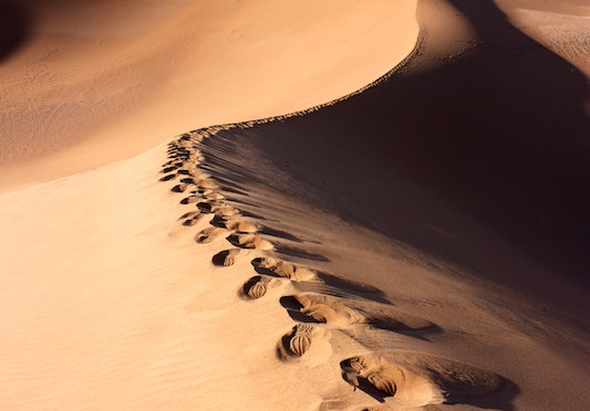 Human footprints on dunes of Erg Chigaga desert