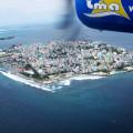 Male - hlavní město Malediv - pohled z letadla