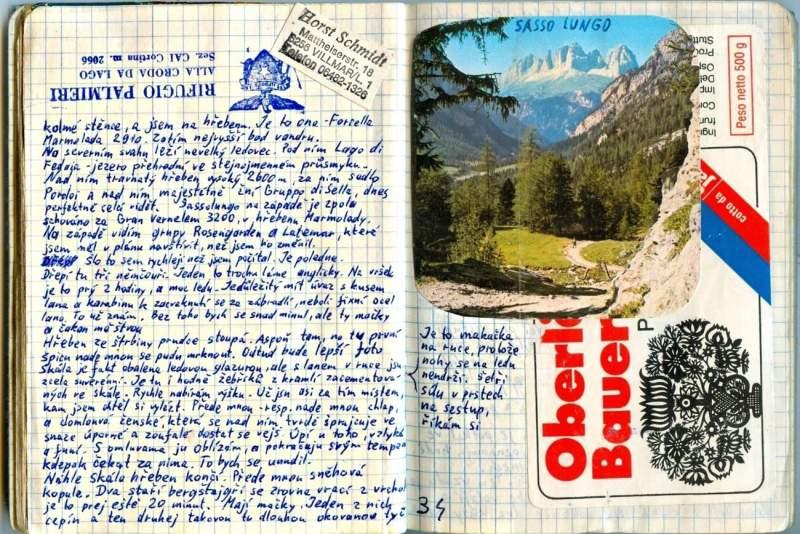A píše si je už dlouho - zde deníček z Dolomit, rok 1980