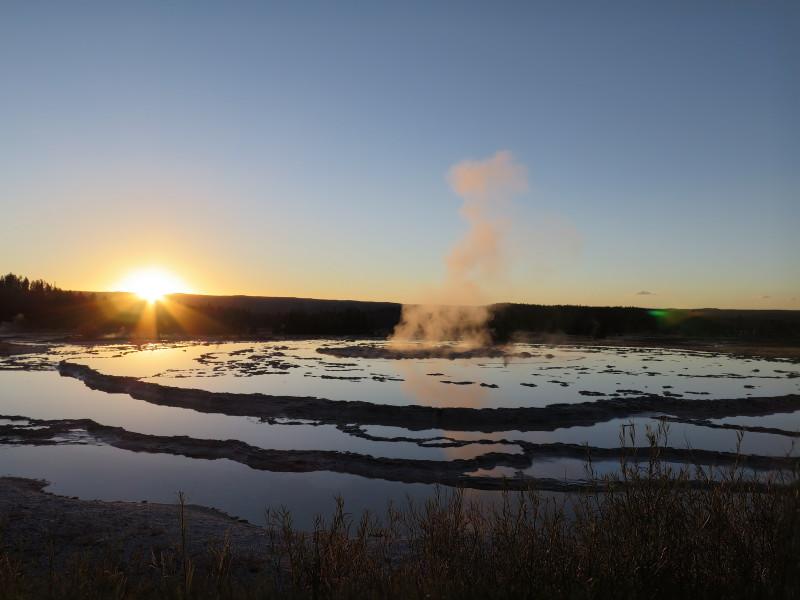 Západ slunce v Yellowstonském NP