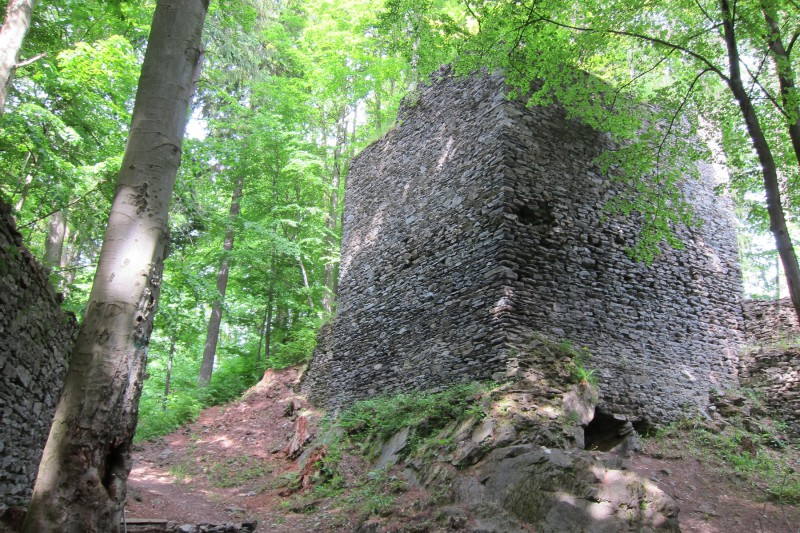 Nový hrad - jedna ze zachovaných věží