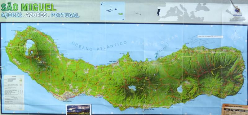 Mapa ostrova, Azory