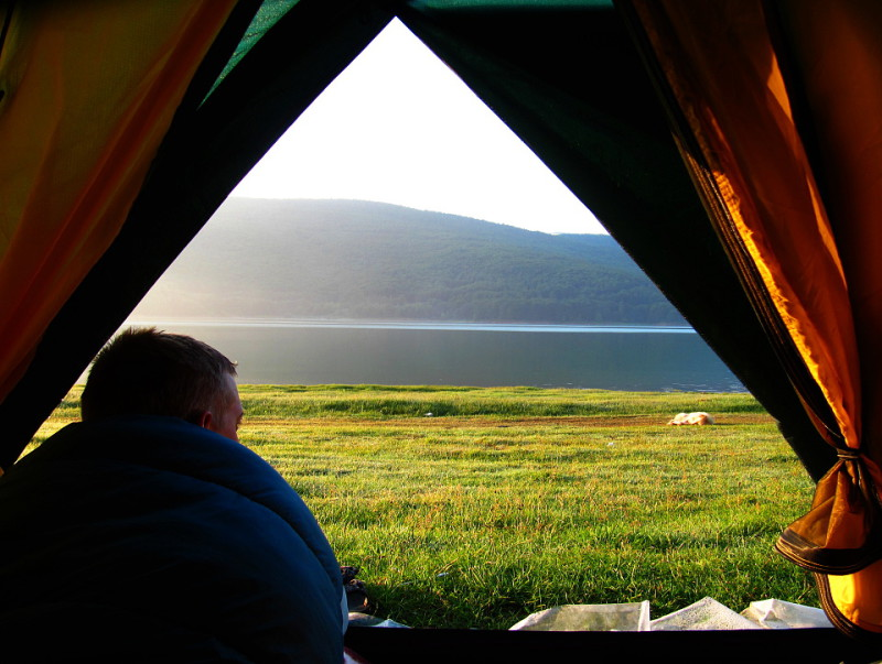 Probuzení u jezera Mavrovo.