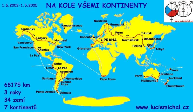 Mapa cesty Lucie a Michala kolem světa