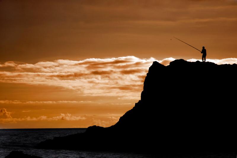 Rybář v západu slunce, Kanárské ostrovy