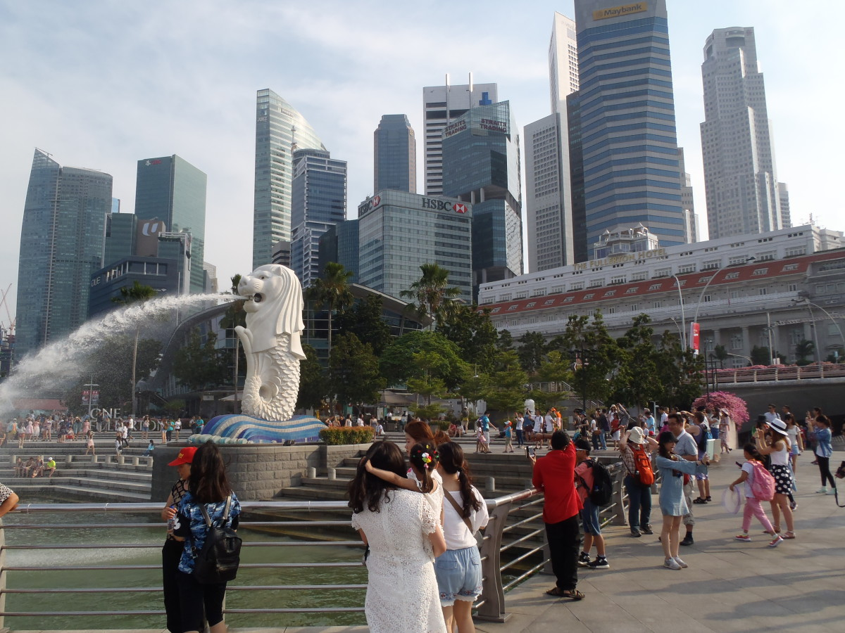 Socha Merlion v centru Singapuru