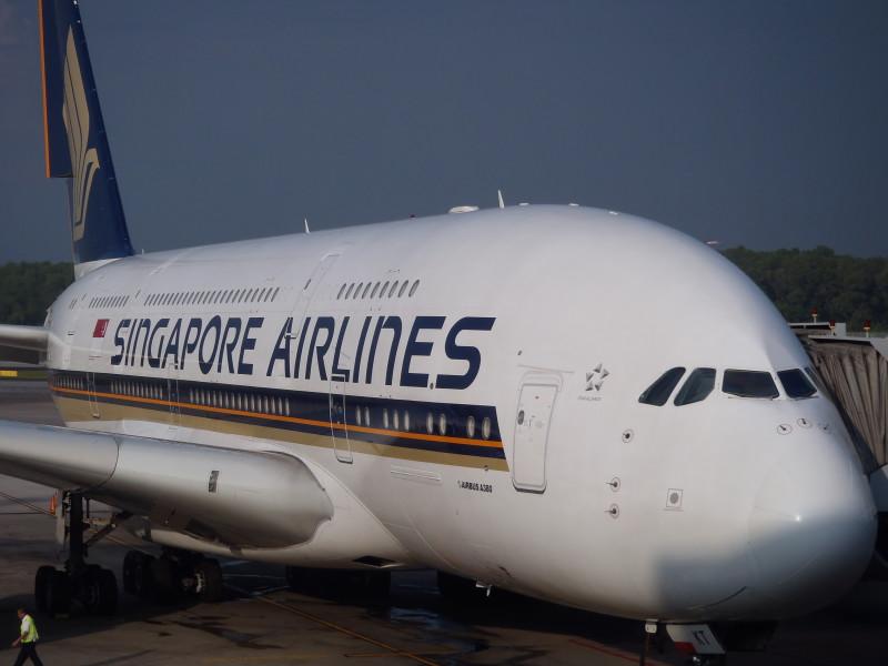 Airbus A380 SIngapore Airlines na singapurském letišti Changi