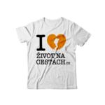 Triko I love Život na cestách, oranžové logo