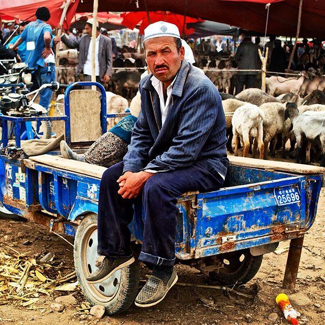 Ujgurský muž na zvířecím trhu v Kašgaru.