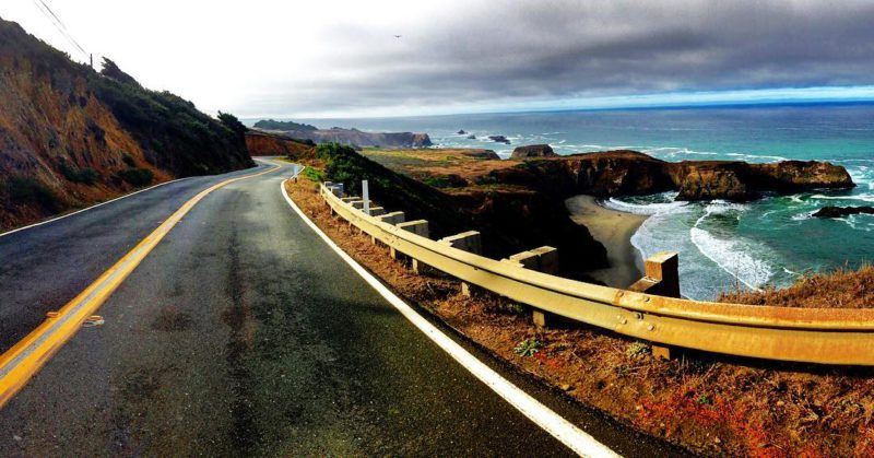 Highway CA1, winding up the coast of California.