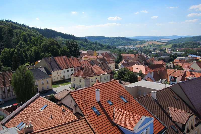 Pohled na židovské město z radniční věže, Boskovice