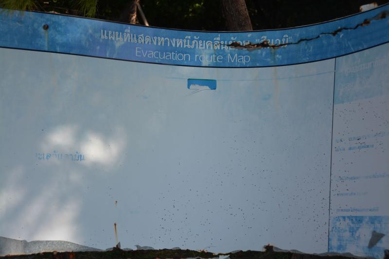 Evakuační plán v případě Tsunami, Ko Poda, Thajsko
