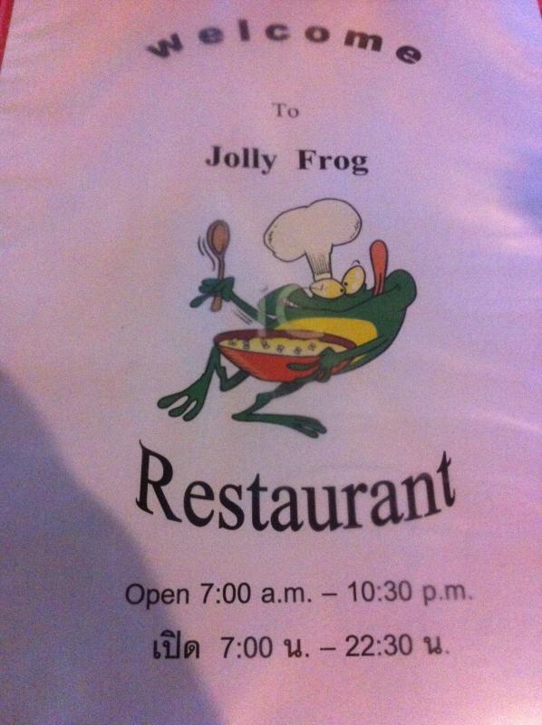 Jolly Frog - jídelní lístek, Kanchanaburi, Thajsko