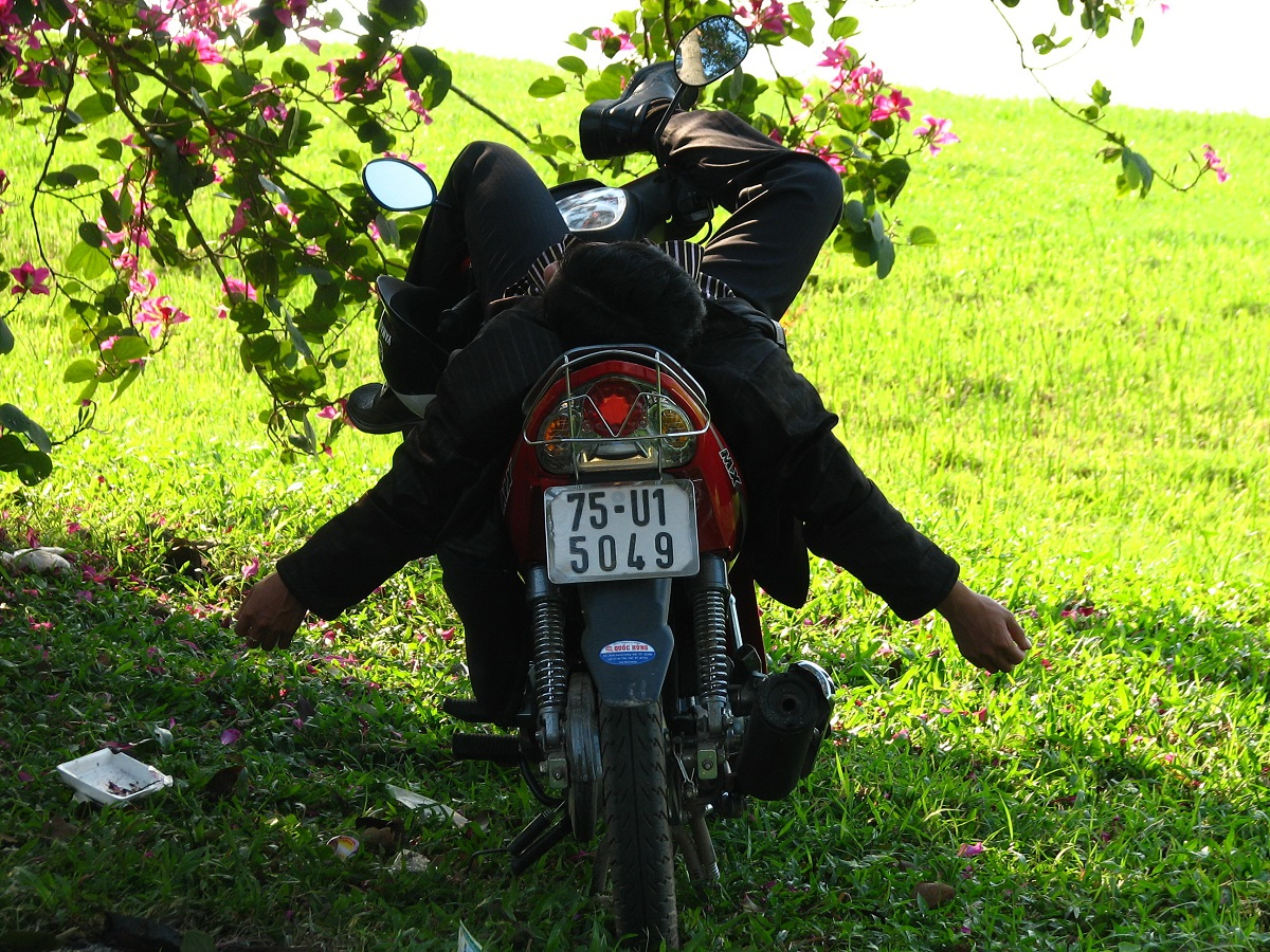 Motorky slouží jako dopravní prostředky, ale i jako odpočivadla. :- )