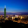 Pohled na noční Tchaj-pej