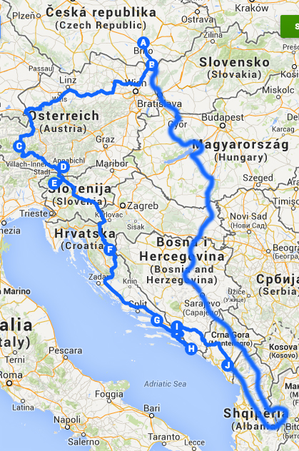 Trasa výletu na Balkán