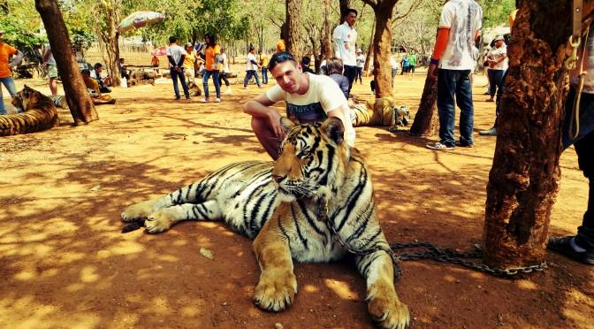 Tygří klášter Wat Pha Luang Ta Bua, provincie Kanchanaburi, Thajsko