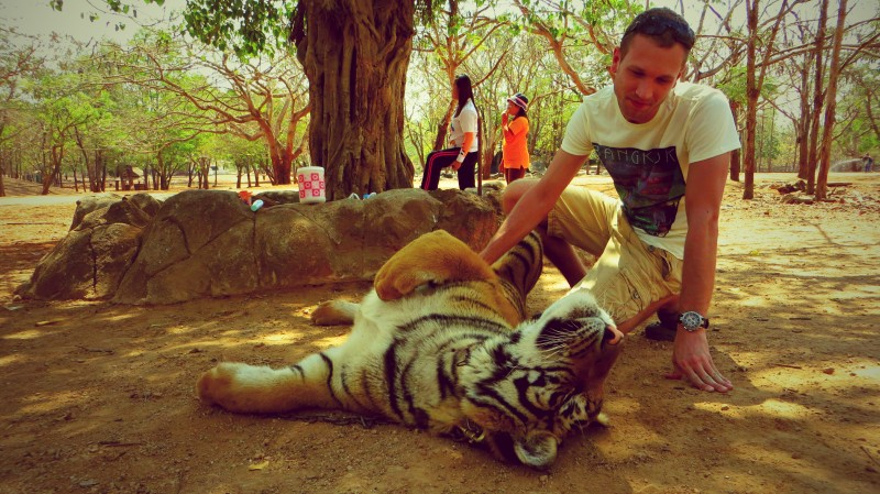 Člověk s tygrem.