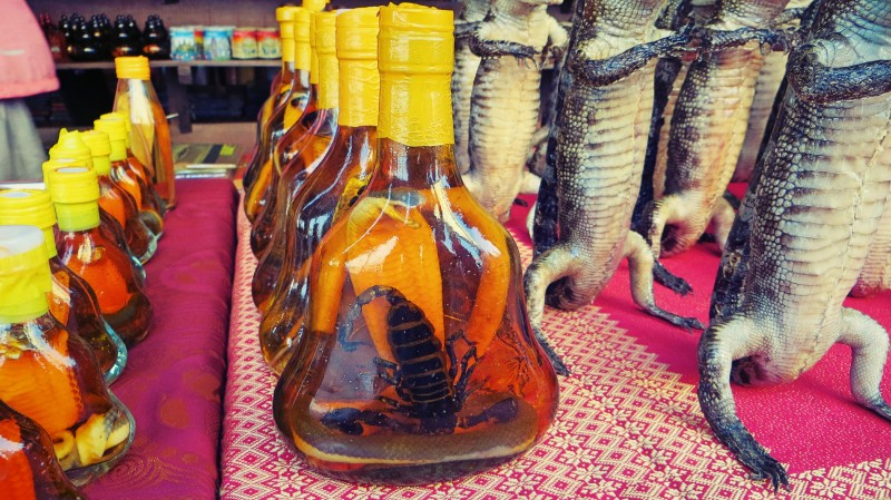 Místní alkohol s naloženým hadem.