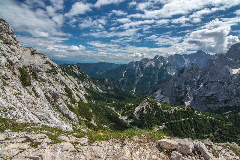 Výhled jen o pár metrů dál. Triglavský národní park, Slovinsko
