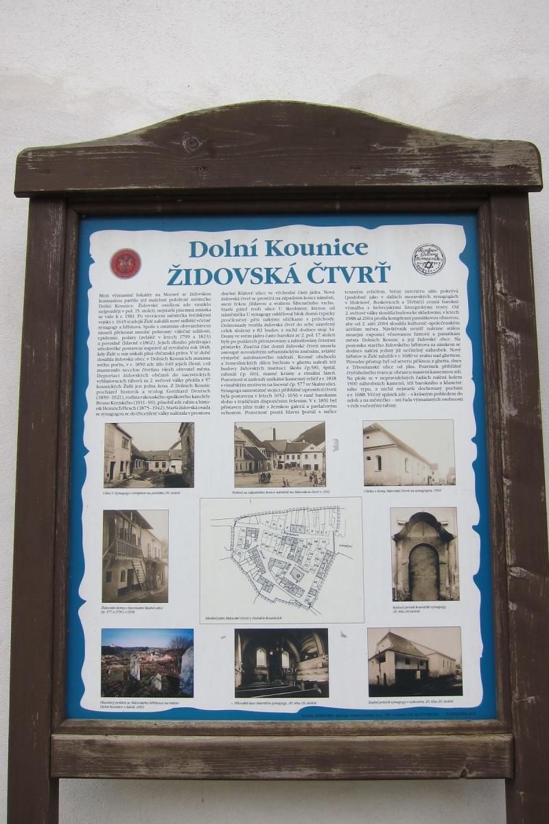 Informační tabule, židovská čtvrť, Dolní Kounice
