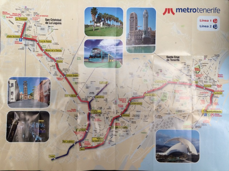 Mapa tramvají v San Cristóbal de La Laguna a Santa Cruz de Tenerife, Tenerife