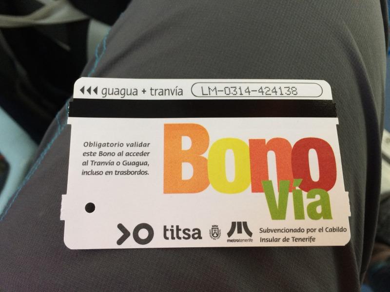 Slevněná měsíční jízdenka v hodnotě 50 EUR, Tenerife
