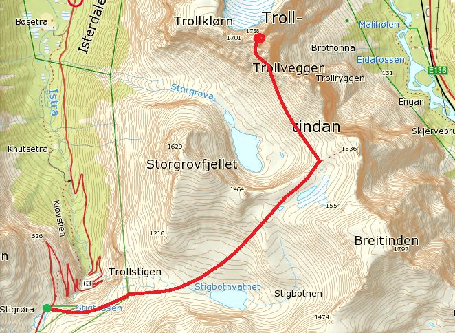 Trasa cesty. Zdroj www.ut.no, tyto norské online mapy doporučuji, jsou přesné a dobře se v nich orientuje