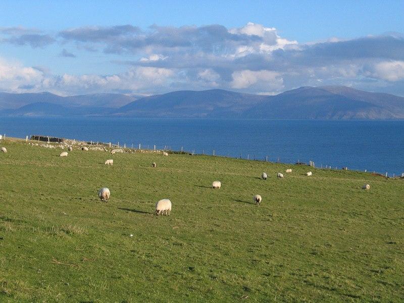 Krajina v okolí Slea Hrad, výhled na protější poloostrov Ring of Kerry.