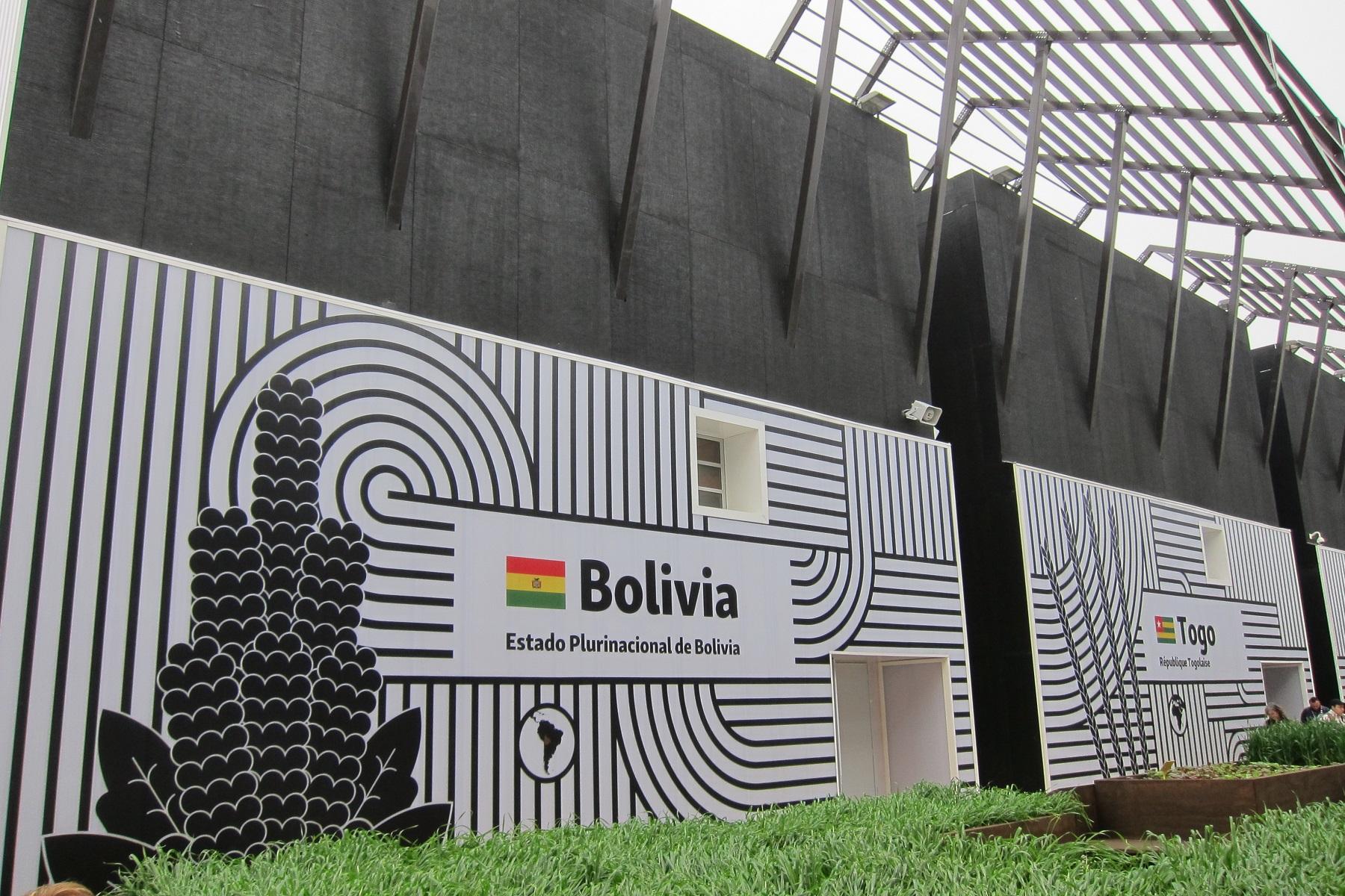 Bolívie sdílí pavilon s několika dalšími zeměmi