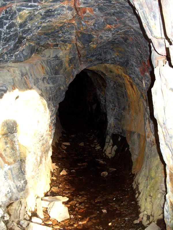 Pozůstatek těžební štoly