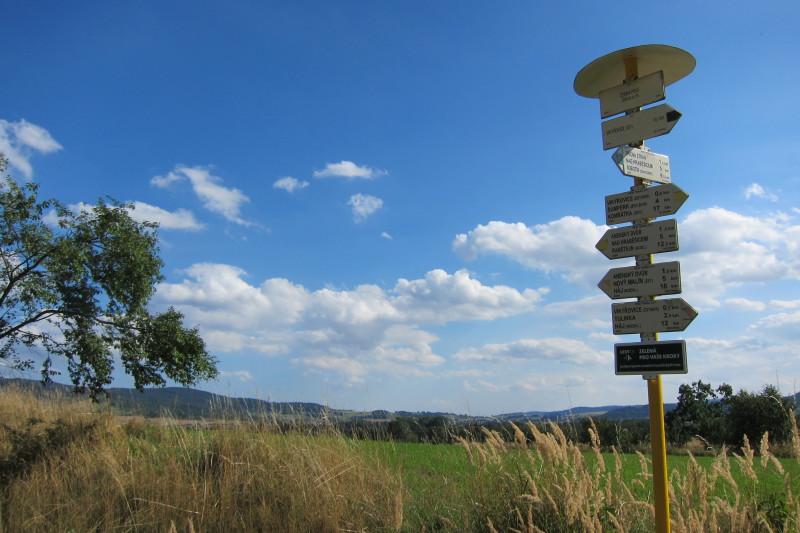 Rozcestník - Černá pole, 4 km před cílem naší túry