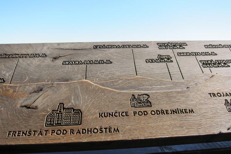 Panoramatické cedule na rozhledně Velký Javorník