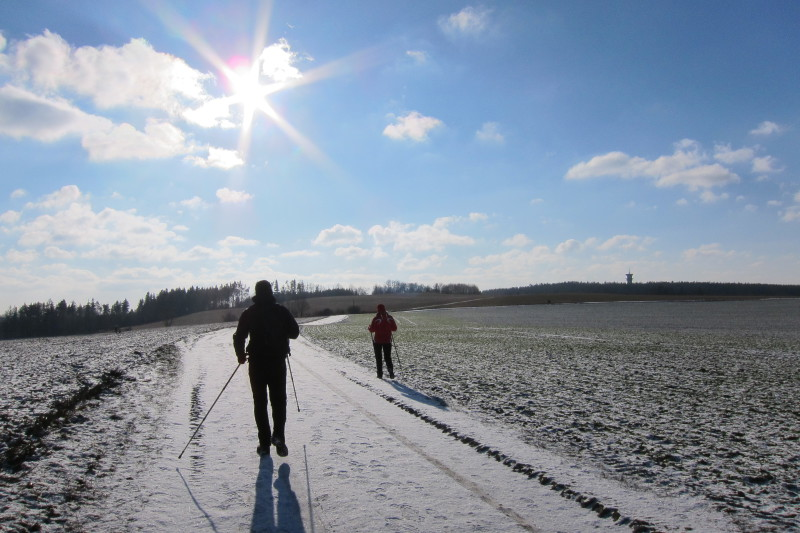 Široká polní cesta jako základ pro turistickou trasu. Vpravo Radíkovská věž