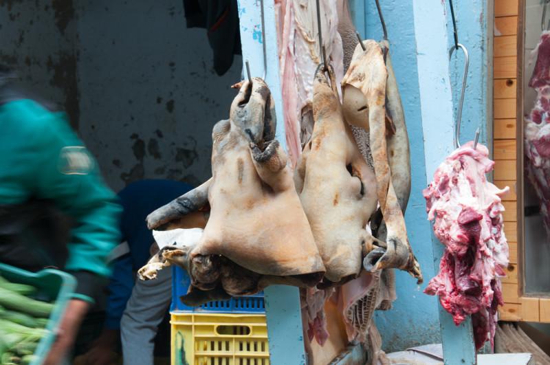 Před řeznictvím jsou vždy vyvěšené nějaké zvířecí hlavy, jako by chtěli ukázat, jak čerstvé maso a z čeho dnes mají... nějak se mi nepodařilo identifikovat, o co šlo, ale mám pocit, že o velbloudí hlavy?