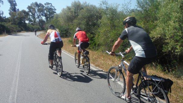 Dánský ostrov Fyn na kole. Cyklisti na silnici.