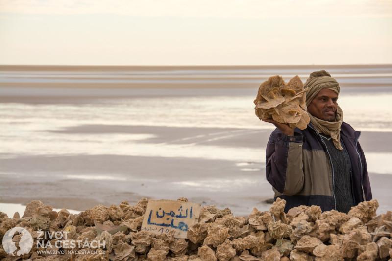 Fotoreport z cesty napříč Tuniskem – Prodejce pouštních růží na odpočivadle na solném jezeře Chott el Djerid.