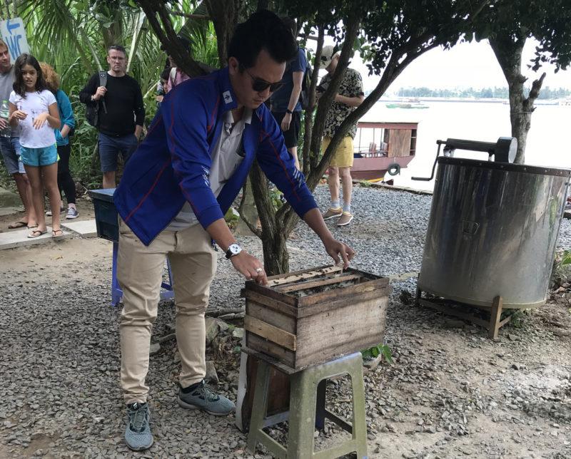 Průvodce Safa ukazuje turistům, že se nebojí ani včel.