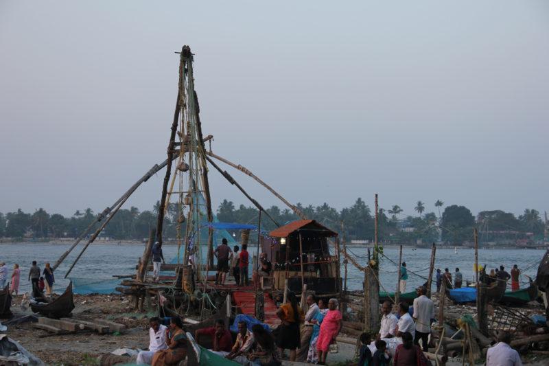Mohutné konstrukce rybářských sítí - Fort Kochi