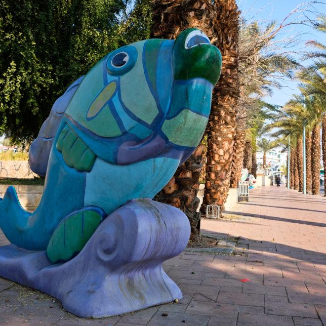 V ulicích Eilatu - v okolí muzea je několik soch ryb