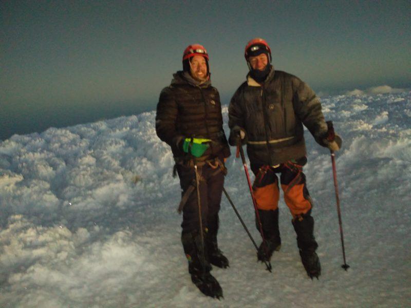 horolezci na vrcholku Chimboraza